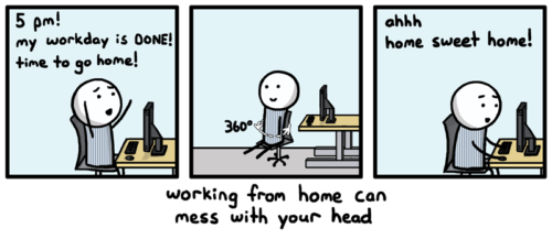 working from home cartoon