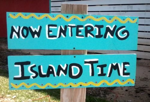 island time entry sign